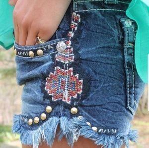 Miss Me Aztec print shorts